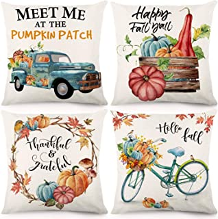 CDWERD Fall Throw Pillow Covers 18x18 Inches Pumpkin Thanksgiving Farmhouse Decorative Autumn Pillowcase Cotton Linen Cushion Case for Home Decor Set of 4