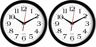 Bernhard Products Black Wall Clock, Silent Non Ticking - 10 Inch Quality Quartz Battery Operated Round Easy to Read Home/O...