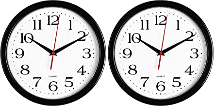 Bernhard Products – Black Wall Clocks, 2 Pack Silent Non Ticking 10 Inch Quality..