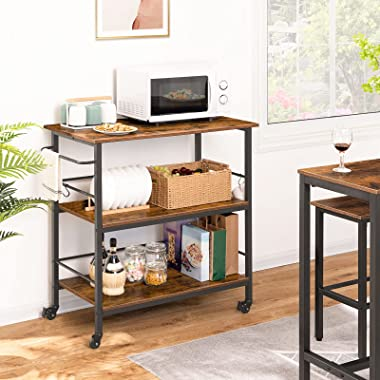 HOOBRO Kitchen Island with Storage,Industrial Kitchen Counter with Hooks and Side Enclosures, 3 Tier Kitchen Cart with Large