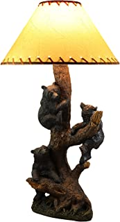 Ebros Whimsical 3 Adventurous Black Bear Cubs Climbing Stunted Tree Table Lamp Statue with Shade 26.25