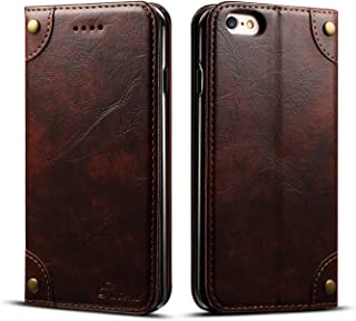 Retro Leather Wallet Case for Apple iPhone 6/6S,Brown Folio Card Money Holder Kickstand Protective Durable Unisex Men Women Fashion Cover Shell