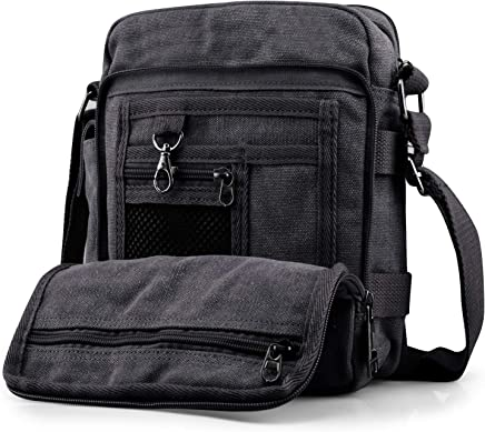 SPAHER Men Canvas Hiking Backpack Large Unisex Laptop Business School Satchel Holdall Weekend Travel Overnight Outdoor Shoulder Casual Bag Black