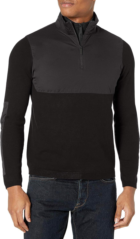 Perry Ellis Men's Motion Big & Tall Nylon Pieced Quarter Zip Sweater