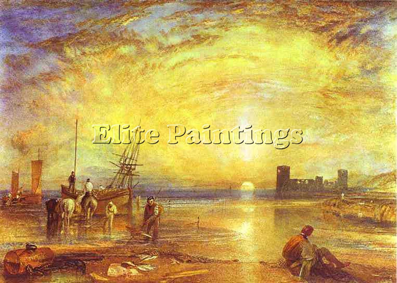 William Turner Flint Castle Artiste Tableau Reproduction Huile Toile Peinture 70x100cm Haute Qualite Amazon Fr Cuisine Maison