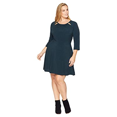 MICHAEL Michael Kors Plus Size Sun Dot 3/4 Sleeve Dress (Black/Luxe Teal) Women