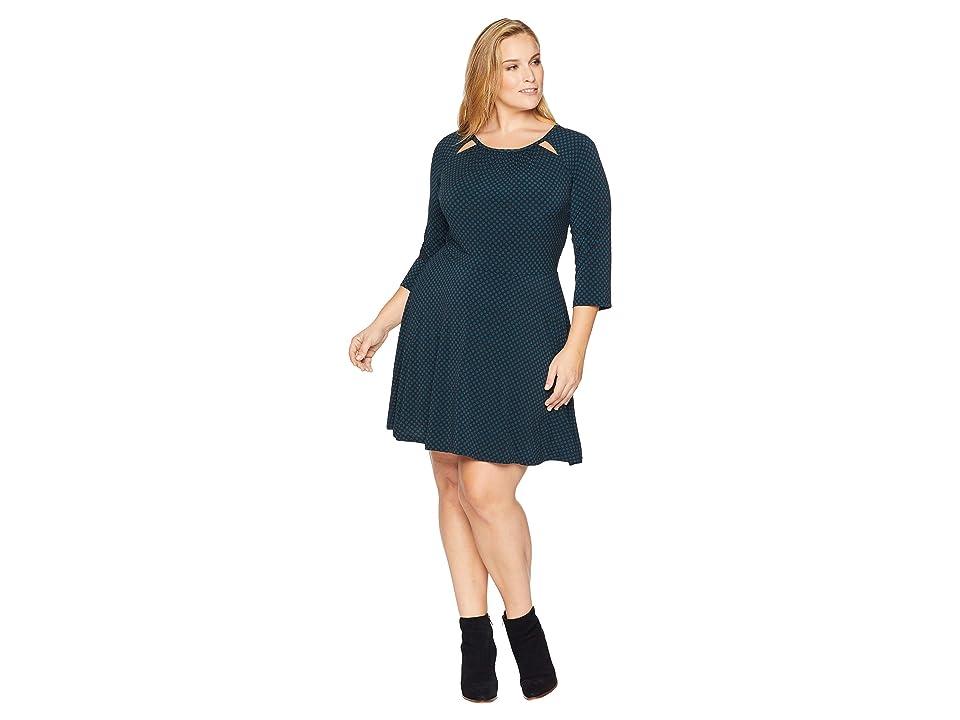 MICHAEL Michael Kors Plus Size Sun Dot 3/4 Sleeve Dress (Black/Luxe Teal) Women