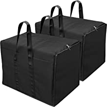 Storite 2 Pack Multi-Purpose Nylon Storage Bag/Clothing Storage Organiser/Toy Storage Bag/Stationery Paper Storage Bag with Zipper Closure and Strong Handle-(Black, 57x 36.8X 40.5 cm) Rectangular