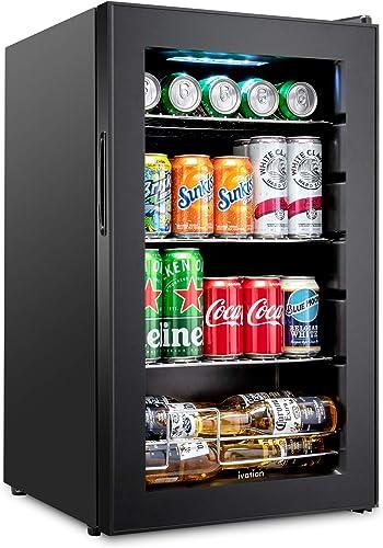wholesale Ivation 101 Can Beverage Refrigerator | Freestanding Ultra Cool Mini outlet sale Drink Fridge | Beer, Cocktails, Soda, Juice Cooler for Home & Office | Reversible sale Glass Door & Adjustable Shelving - Black outlet sale