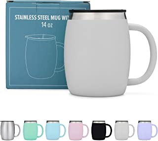 Stainless Steel Coffee Mugs with Lids – 14 Oz Double Walled Insulated Coffee Beer..