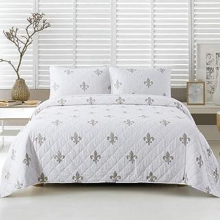 Soul & Lane Belle Fleur Cotton 3-Piece Bedding Quilt Set - King with 2 Shams | White French Fleur de Lis Quilted Bedspread