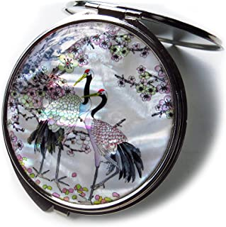 Compact Makeup Mirror Cosmetic Korean Mother of Pearl Lacquered Apricot Tree & Crane White #5