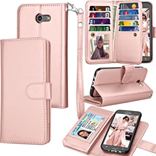 Tekcoo for Galaxy J3 Emerge / J3 Prime / J3 Luna Pro / J3 Mission / J3 Eclipse Wallet Case, Luxury PU Leather Credit Card Slots Holder Carrying Folio Flip Cover for Samsung Amp Prime 2 - Rose Gold