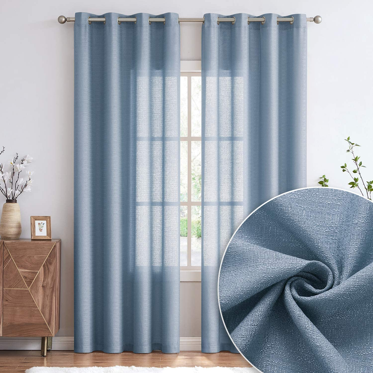 Linen Textured Sheer Curtains for Light Bedroom Cheap mail order Max 44% OFF specialty store Filtering Semi