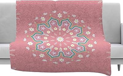 Kess InHouse Kess Original Classic Green Wreath Monogram Lavender Digital Throw 40 x 30 Fleece Blanket