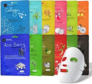 کلاژن چلوی ماسک صورت (12 ورق) کلاسیک کره ای محصولات مراقبت از پوست | روشن، مرطوب کردن، تشدید پوست لکه های تاریک و حلقه ها | سفید شدن، روشنایی، رنگدانه تراز