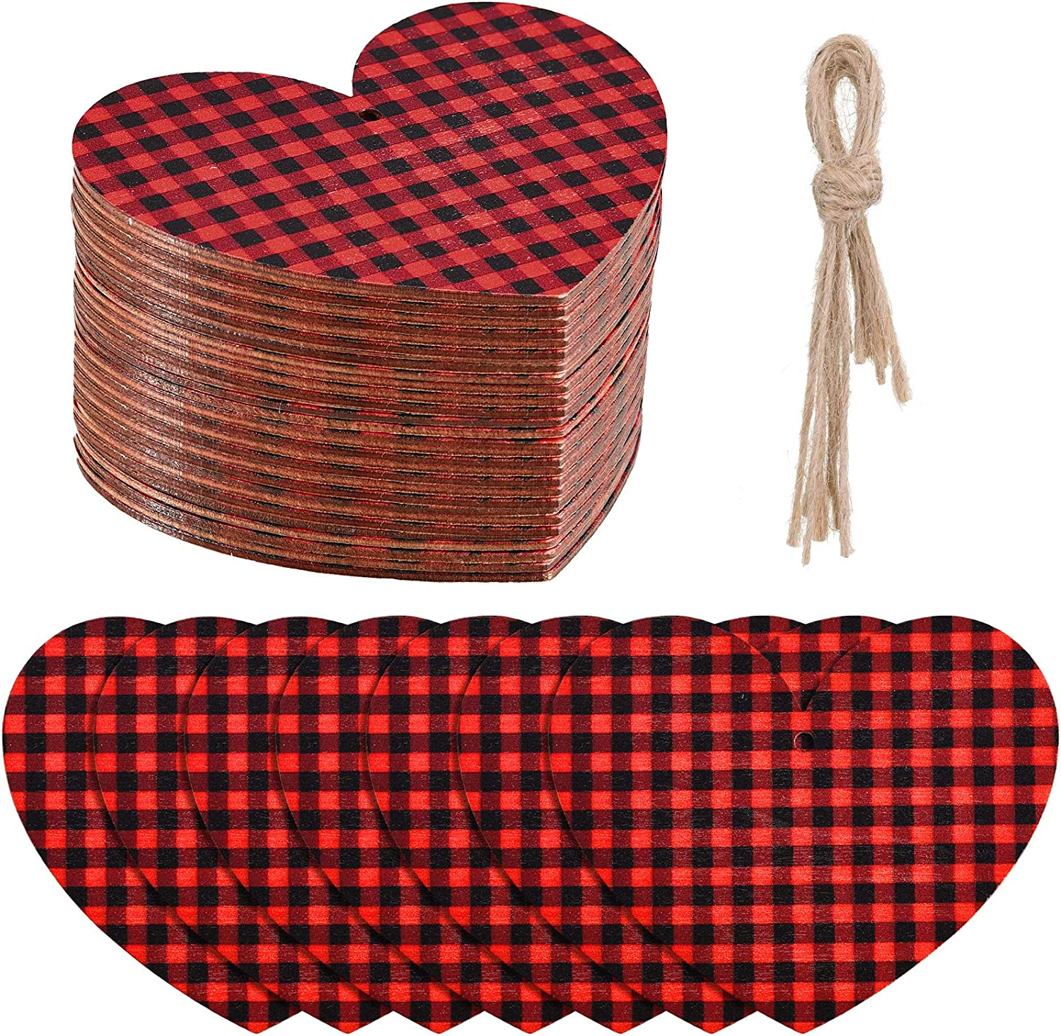 48 Pieces Buffalo Plaid Heart Miami Mall Wood Slice Ornament Wooden Sales of SALE items from new works L