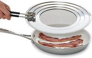 Splatter Screen Guard - Blocks Hot Grease Splash from Bacon, Shield Skin from Oil Burns, Universal Lid for Frying Pans, Ea...