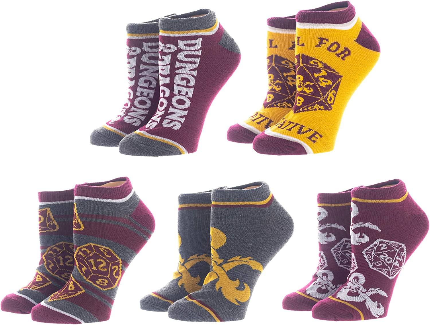 D&D Dungeons and Dragons Classic Jrs Ankle 5 Sock Pack