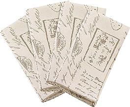 مناديل بتصميم مطبوع عليه نص قديم من SARO LIFESTYLE - مجموعة من 4/0044. N20S، 50.8 سم، طبيعي