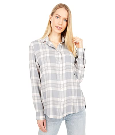 Lucky Brand Relaxed Flannel Shirt (Grey Multi) Women