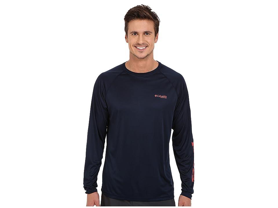 Columbia Terminal Tackletm L/S Shirt (Collegiate Navy/Sunset Red Logo) Men