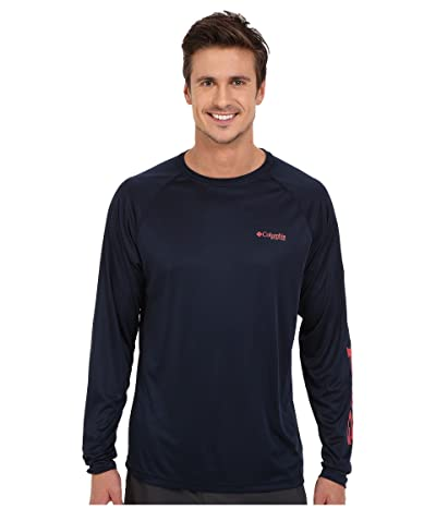 Columbia Terminal Tackletm L/S Shirt (Collegiate Navy/Sunset Red Logo) Men