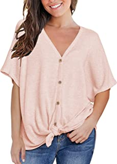 Womens Loose Blouse Short Sleeve V Neck Button Down T...
