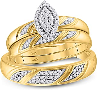Mia Diamonds 10k Yellow Gold Diamond His & Hers Matching Trio Wedding Engagement Bridal Ring Set (.25cttw) (I2-I3)- Available Sizes From - 5 to 11