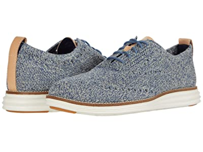 Cole Haan Original Grand Stitchlite Wing Tip Oxford (Safari/Vintage Indigo Knit/Ivory) Men