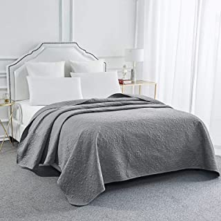 Sophia & William Bed Quilt Bedspread Coverlet - Reversible, Lightweight - King Size, Iron Grey