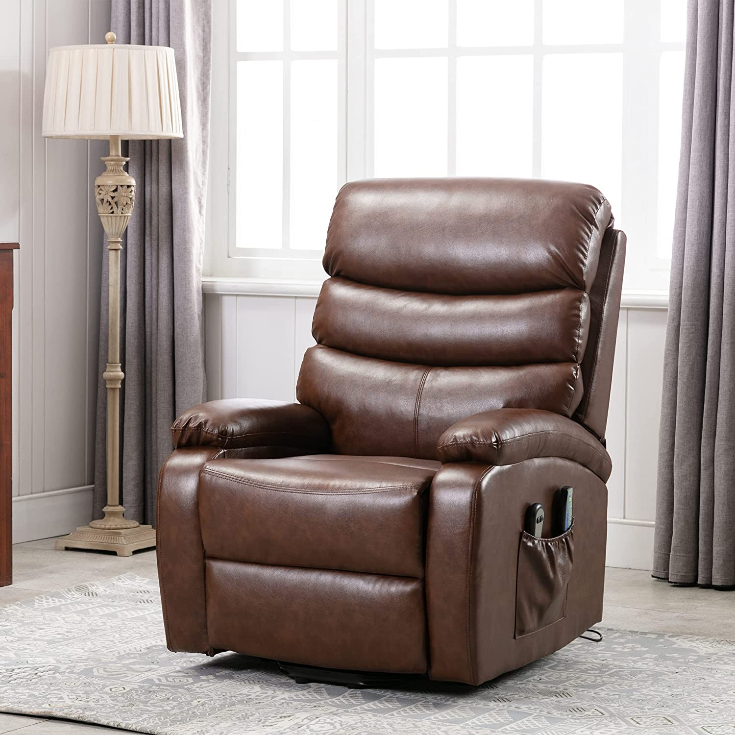 Electric Power Lift Recliner Superlatite Chair New York Mall Leather Faux M