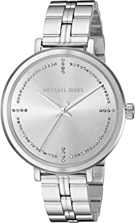 Michael Kors Women's Bridgette Stainless Steel Watch, three hand quartz movement with crystals on dial