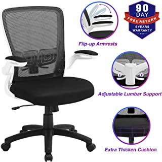 Office Chair, ZLHECTO Ergonomic Desk Chair with Adjustable Height and Lumbar Support, High Back Mesh Computer Chair with Flip up Armrests for Conference Room - 300lb Weight Capacity (White)
