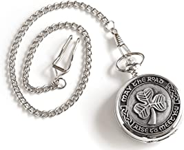 Celtic Pocket Watch Manual Victorian Style Shamrock Design Pewter Made in Ireland