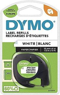 DYMO LT papper etikettband autentisk | svart på vitt | 12 mm x 4 m | självhäftande etiketter | för LetraTag märkningsenhet
