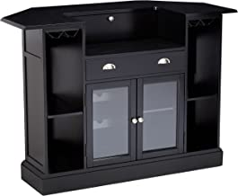 Inwood 2-door 1-drawer Bar Unit with Wine Rack and Stemware Storage Black and Clear