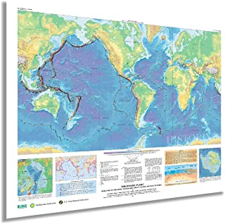 HISTORIX 2006 World Map of Volcanoes Earthquakes Impact Craters & Plate Tectonics - 18x24 Inch This Dynamic Planet World G...