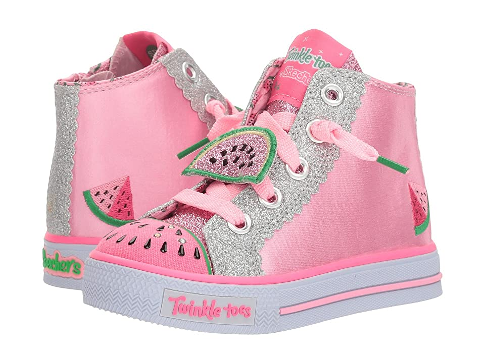 SKECHERS KIDS Twinkle Toes: Shuffles Patch Party (Toddler/Little Kid) (Pink/Silver) Girl