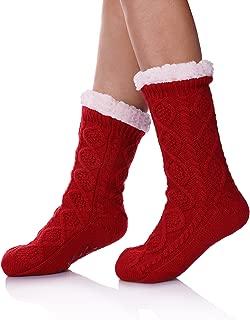 SDBING Women's Super Soft Warm Cozy Fuzzy Fleece lined Twist Non-Slip Winter Christmas gift Slipper Socks