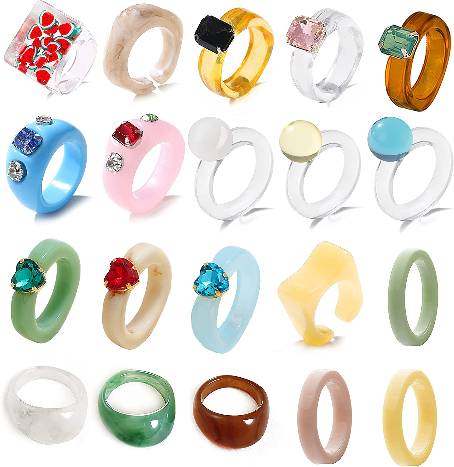 CASDAN 20Pcs Resin Rings Acrylic Cute Trendy Rings Colorful Rhinestone Y2k Rings Jewelry Plastic Resin Square Gem Stackable Chunky Ring for Women Girls (size 6-8)