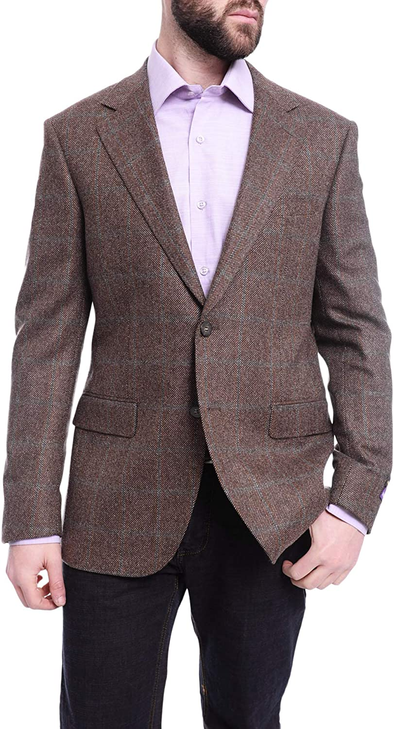 Napoli Slim Fit Gorgeous Brown with Ranking TOP9 Blue Plaid Flannel Half Canvassed Cas