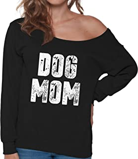 Pekatees Dog Mom Off Shoulder Sweatshirt Cute Women's Dog Mom Oversized Sweater
