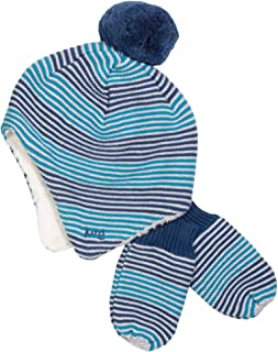 Kite Stripy Blue Hat and Mitts