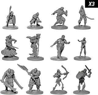 Origin Miniatures Enemy Minions Battle Pack, 36 Unpainted Miniatures for Tabletop Roleplaying Games, 6 Fantasy Races: Orcs, Dark Elves, Zombies, Skeletons, Bandits, Goblins, 12 Unique Characters