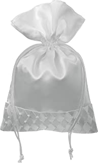 Darice VL30051 Wedding Drawstring Bridal Favor Bag with Woven Pearl Accent, 7 by 10-Inch, White