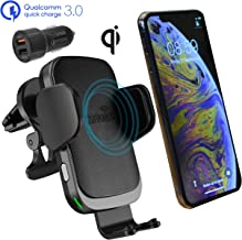 CharGenius Wireless Car Charger Mount, Qi Fast Charging Auto Clamping Phone Holder, Dashboard Windshield Air Vent CD Mount for iPhone 11 Pro XS Max XR X 8+, Android Samsung Galaxy S10+ S10 S9+ S9 S8+