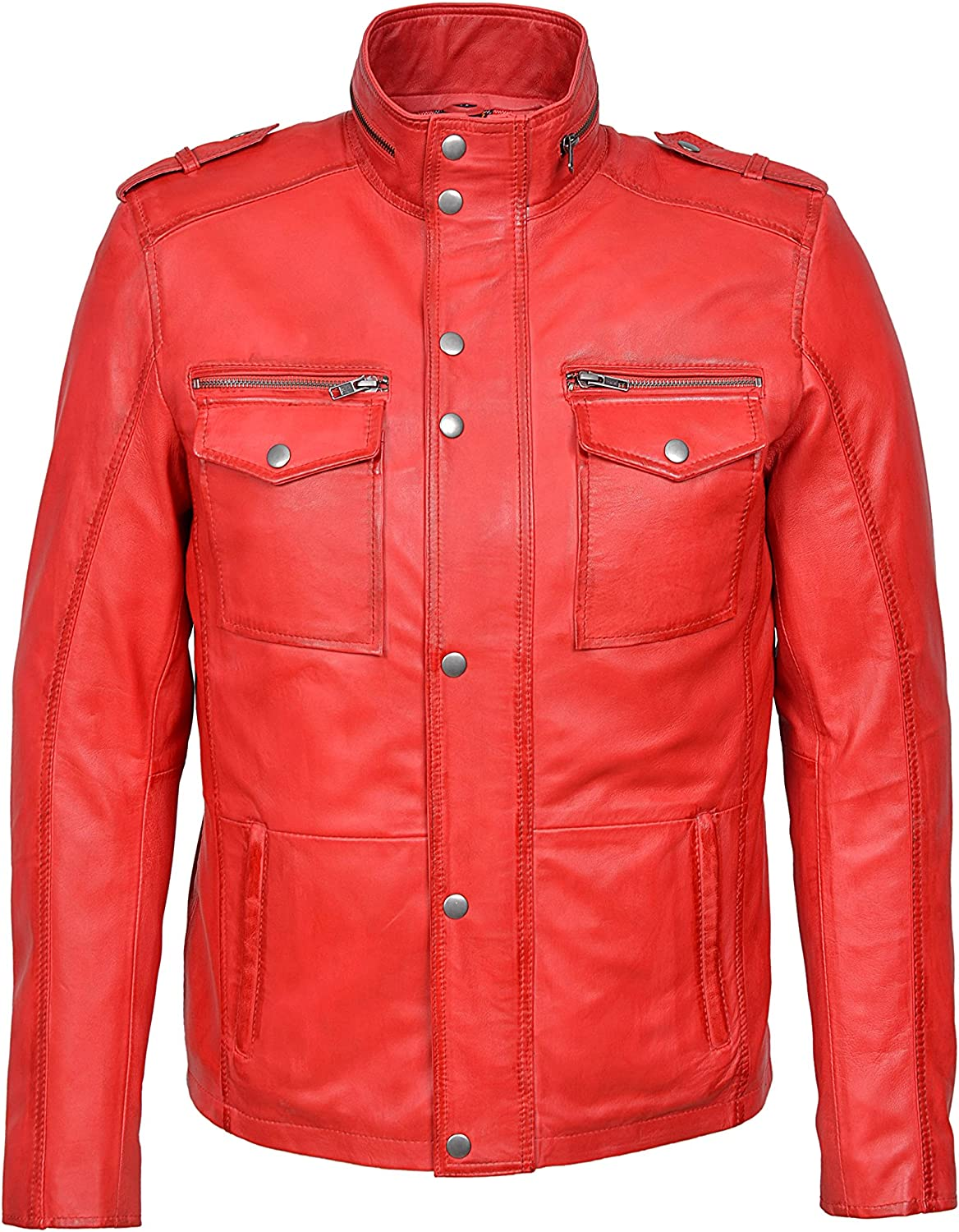 Mens Gents Red Designer Real Sheep Nappa Soft Lambskin Leather Jacket 5540