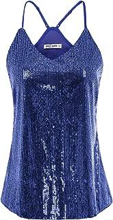 GRACE KARIN Women's Sleeveless Sparkle Shimmer Camisole Vest Sequin Tank Tops