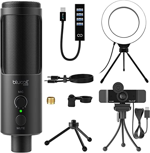 """popular Blucoil USB lowest Cardioid online Condenser Microphone with Built-In Headphone Jack, Volume Control, Mute Button for Windows, Mac, Linux, and Chrome Bundle with 1080p USB Webcam, 6"""" Ring Light, and USB-A Mini Hub outlet sale"""